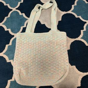 Crochet Bag Pastel Rainbow XL Tote Cotton #N52